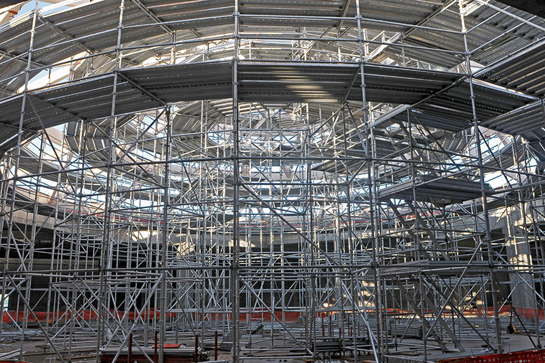MP scaffolding for geodesic dome construction - Pilosio